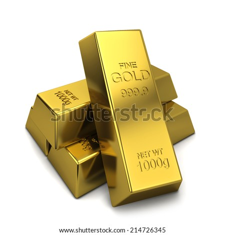 Golden ingots. 3d illustration isolated on white background
