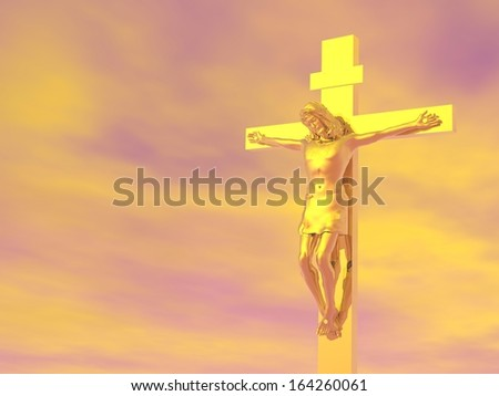 Golden Jesus-Christ cross in cloudy orange sky background - stock photo