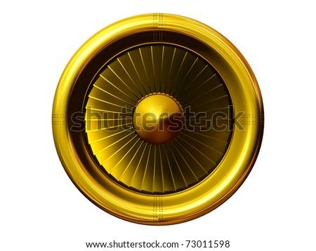 golden jet engine - stock photo