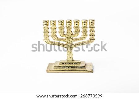 Golden  jewish candelabrum - menorah  - stock photo