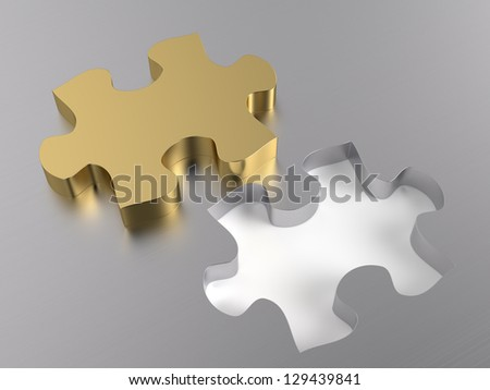Golden jigsaw puzzle piece. Computer generated image with clipping paths - stock photo