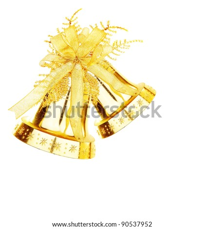 Golden jingle bell, Christmas tree ornament and holiday decoration isolated on white background - stock photo
