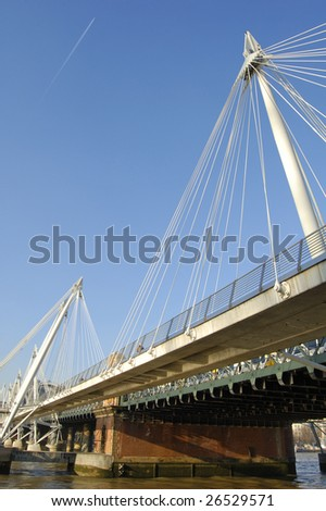Golden Jubilee bridge over the River Thames in London, England