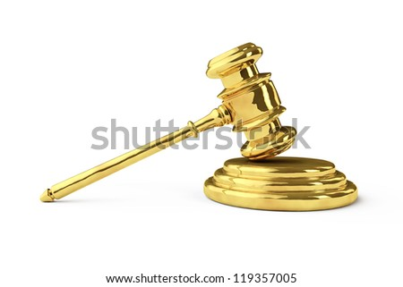 Golden justice gavel on a white background - stock photo