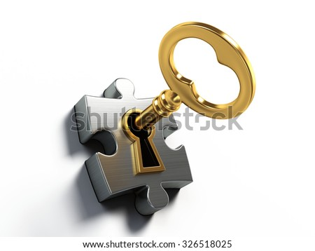 Golden key and puzzle isolated on white - stock photo