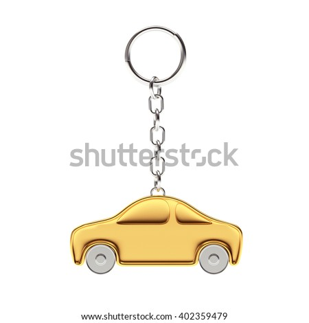Golden key chain in the form of a car isolated on white background. 3d Rendering. - stock photo