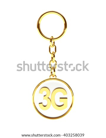 Golden key chain with 3G icon mobile wireless communication isolated on white background. 3D Rendering. - stock photo