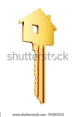 golden key for home - stock photo