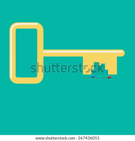 Golden key from the city Road, car, skyscraper icon Flat design Green background - stock photo