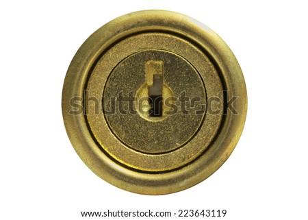 Golden key hole isolated on white background - stock photo