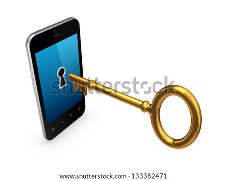Golden key in a modern mobile phone.Isolated on white background.3d rendered. - stock photo