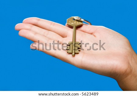 Golden key lying on the hand on the blue background - stock photo