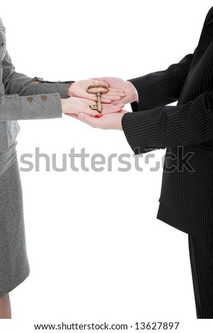 Golden key on the hands