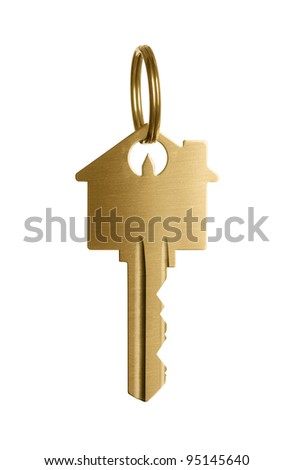 Golden key to a dream house isolated on white background - stock photo