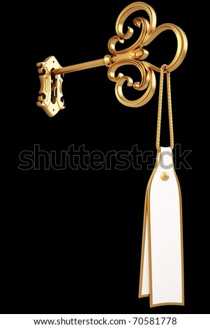 golden key with a tag is inserted into the keyhole. isolated on black. with clipping path. - stock photo