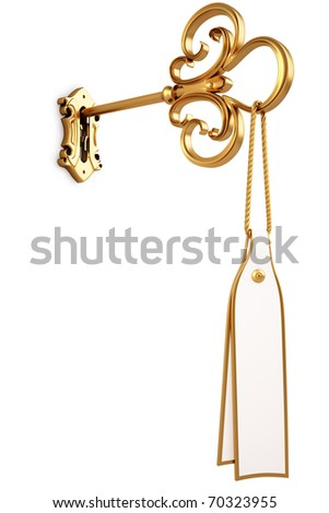golden key with a tag is inserted into the keyhole. isolated on white. with clipping path. - stock photo