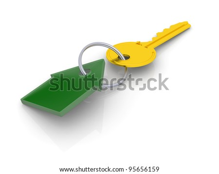 Golden key with green tag in shape of house