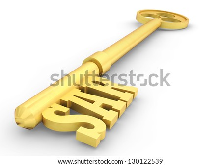 golden key with Saudi currency sign on isolated white background - stock photo