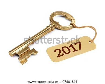Golden Key with 2017 year tag isolated on white. 3d rendering - stock photo