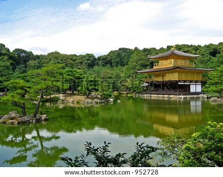 Golden Kinkakuji Temple or Golden Pavilion at Kyoto, Japan - stock photo