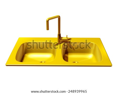 golden kitchen sink with double pools - stock photo