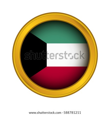 Golden label flag of kuwait on a white background