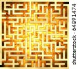 Golden labyrinth with flame. High resolution 3D image - stock photo