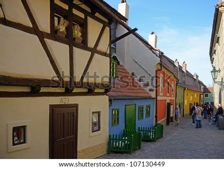 Golden lane in Prague - stock photo