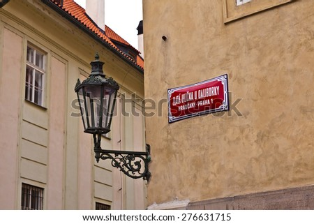 Golden Lane street sign at Prague Castle in Prague. - stock photo