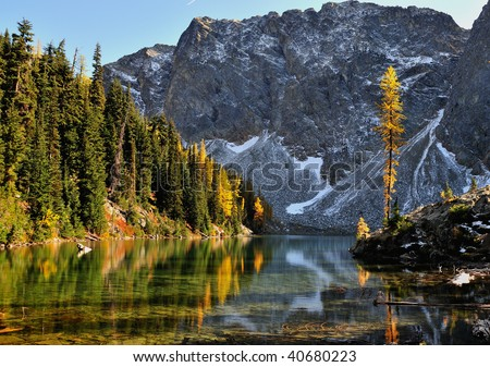 Golden Larch and Blue Lake Trail - stock photo