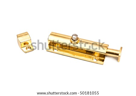 golden latch isolated on white background