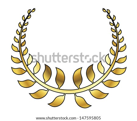 golden laurel wreath illustration - stock photo