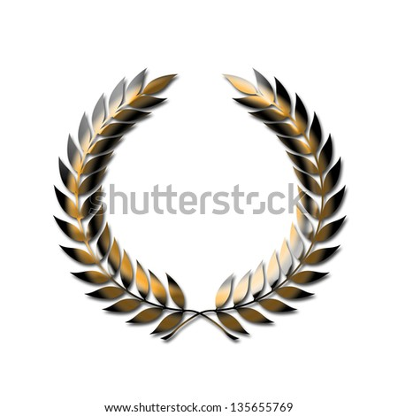 Golden laurel wreath symbol isolated on white - stock photo