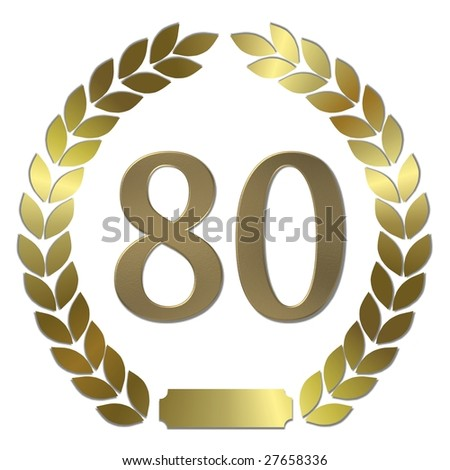 golden laurel wreath 80 years