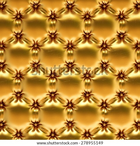 golden leather texture honeycomb. - stock photo