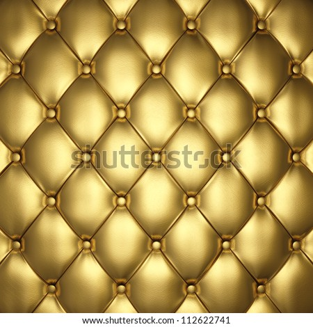 Golden leather upholstery , 3d illustration - stock photo