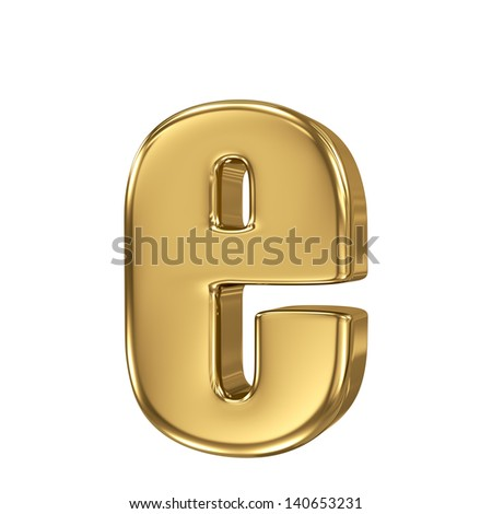 Golden letter e lowercase high quality 3d render isolated on white - stock photo