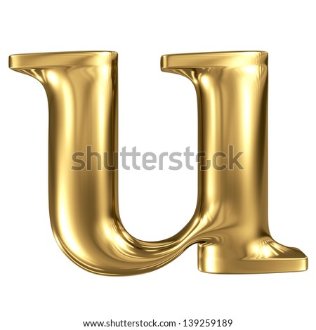 Golden letter u lowercase high quality 3d render isolated on white - stock photo