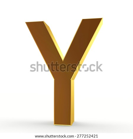 Golden letter Y on a white isolated background