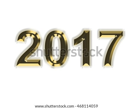 Golden lettering. New year 2017.