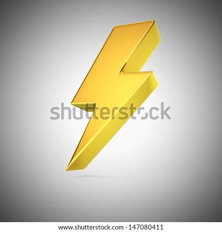 Golden lightning symbol on grey background - stock photo