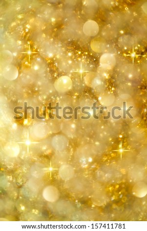 Golden Lights and Stars Christmas or Party Background - stock photo