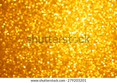 Golden lights bokeh background, abstract defocused glowing circles - stock photo