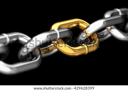 Golden link in a chain concept, 3D render - stock photo