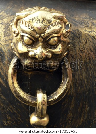 golden lion. China. Beijing - stock photo