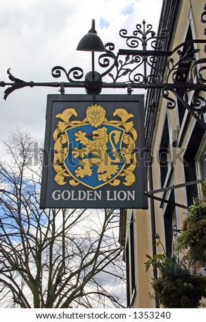 Golden Lion Pub Sign in Chester - stock photo