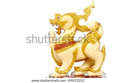 Golden Lion statue - Asian style art -  isolated on white background - stock photo