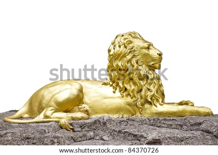 Golden lion statue isolate on white background - stock photo