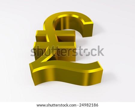 Golden lira symbol isolated on white 3d render - stock photo