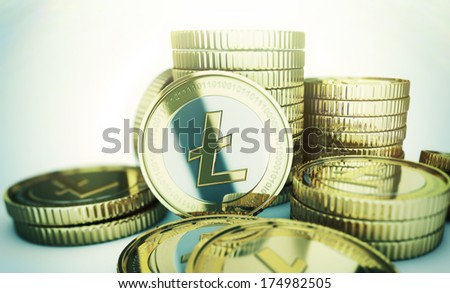 Golden Litecoin digital currency coin  - stock photo